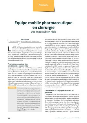Equipe mobile pharmaceutique en chirurgie