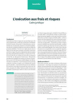 L'exécution aux frais et risques - Cadre juridique