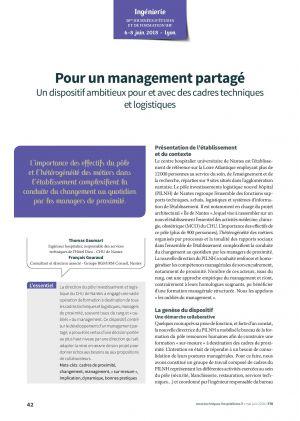Pour un management partagé - Un dispositif ambitieux pour et avec des cardes techniques et logistiques