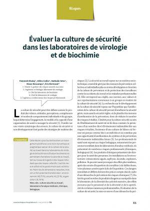 Évaluer la culture de sécurité dans les laboratoires de virologie et de biochimie