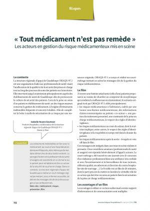 « Tout médicament n'est pas remède » Les acteurs en gestion du risque médicamenteux mis en scène