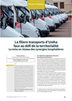 La filiere transports d'Uniha face au défi de la territorialité La mise en réseau des synergies hospitalières