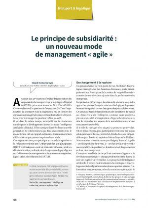 Le principe de subsidiarité : un nouveau mode de management « agile »