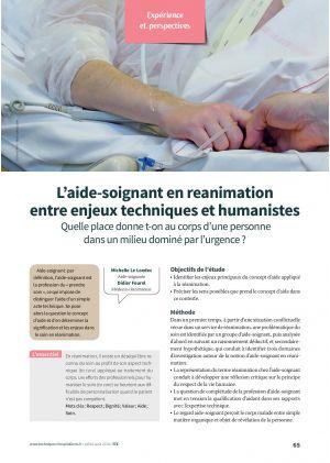 L'aide-soignant en réanimation entre enjeux techniques et humanistes
