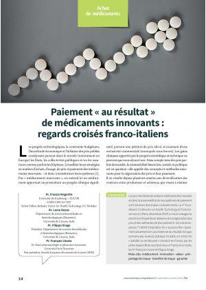 Paiement « au résultat » de médicaments innovants : regards croisés franco-italiens