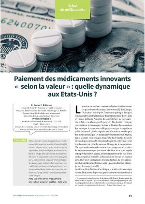 Paiement des médicaments innovants « selon la valeur » : quelle dynamique aux Etats-Unis ?