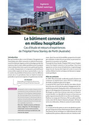 Le bâtiment connecté en milieu hospitalier : Cas d'étude et retours d'expériences de l'hôpital Fiona Stanley de Perth (Australie)