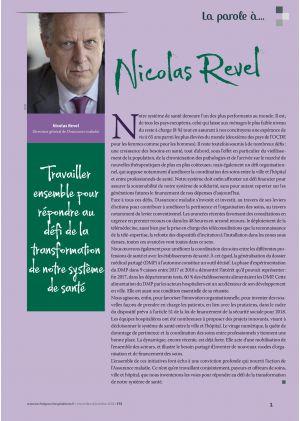 La parole à Nicolas Revel. Travailler ensemble pour répondre au défi de la transformation de notre système de santé