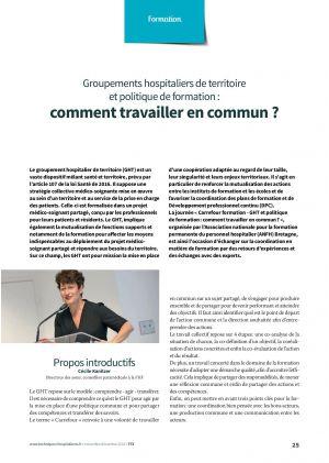 Groupements hospitaliers de territoire et politique de formation : comment travailler en commun ?