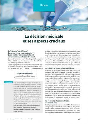 La décision médicale et ses aspects cruciaux