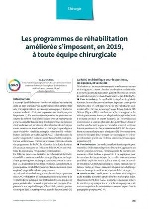 Les programmes de réhabilitation améliorée s'imposent, en 2019, à toute équipe chirurgicale