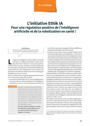 L'initiative Ethik IA Pour une régulation positive de l'intelligence artificielle et de la robotisation en santé !