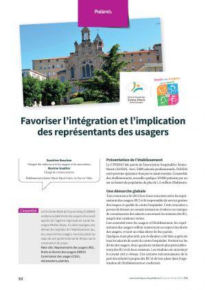 Favoriser l'intégration et l'implication des représentants des usagers
