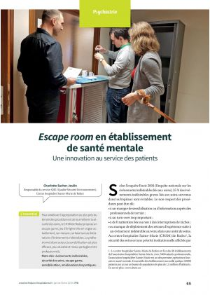 Escape room en établissement de santé mentale. Une innovation au service des patients
