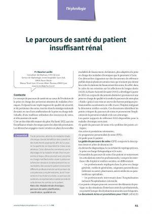 Le parcours de santé du patient insuffisant rénal