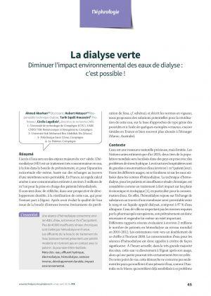 La dialyse verte : Diminuer l'impact environnemental des eaux de dialyse : c'est possible !