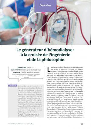 Le générateur d'hémodialyse : à la croisée de l'ingénierie et de la philosophie