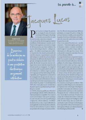 [Accès libre] La parole à Jacques Lucas Vice-Président du Conseil national de l'ordre des médecins (CNOM) Délégué général au Numérique
