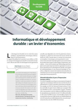 Informatique et développement durable: un levier d'économies