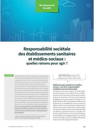 Responsabilité sociétale des établissements sanitaires et médico-sociaux : quelles raisons pour agir ?