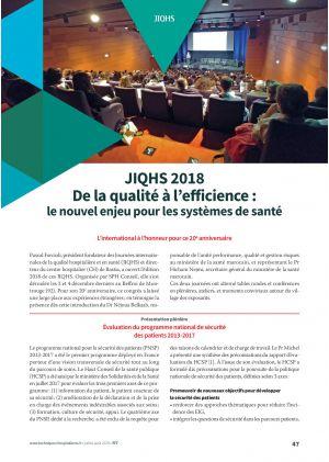JIQHS 2018 - De la qualité à l'efficience : le nouvel enjeu pour les systèmes de santé