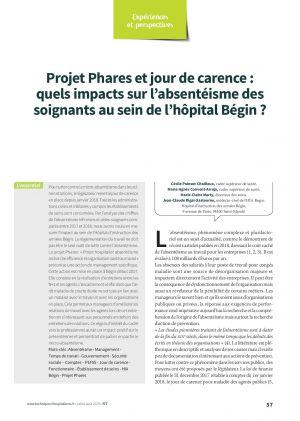 Projet Phares et jour de carence : quels impacts sur l'absentéisme des soignants au sein de l'hôpital Bégin ?