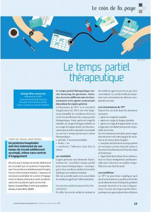 Le coin de la paye - Le temps partiel thérapeutique