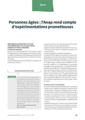 Personnes âgées : l'Anap rend compte d'expérimentations prometteuses