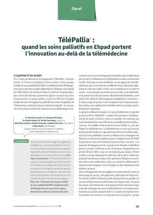 TéléPallia© : quand les soins palliatifs en Ehpad portent l'innovation au-delà de la télémédecine