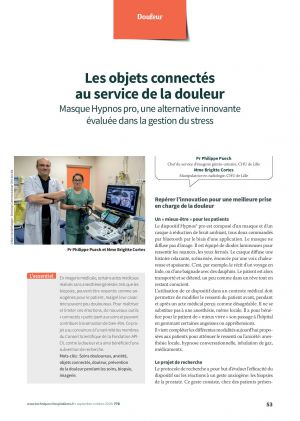 Les objets connectés au service de la douleur Masque Hypnos pro, une alternative innovante évaluée dans la gestion du stress