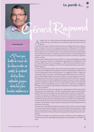 [Accès libre] La parole à Gérard Raymond Président de France Assos Santé