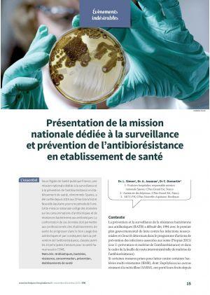 Présentation de la mission nationale dédiée à la surveillance et prévention de l'antibiorésistance en établissement de santé