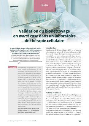 Validation du bionettoyage en worst case dans un laboratoire de thérapie cellulaire