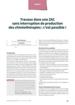 Travaux dans une ZAC sans interruption de production des chimiothérapies : c'est possible !