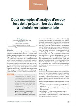 Deux exemples d'analyse d'erreur lors de la préparation des doses à administrer automatisée