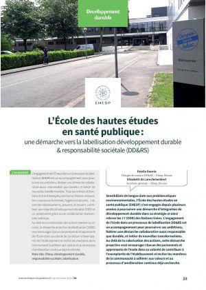 L'École des hautes études en santé publique : une démarche vers la labellisation développement durable & responsabilité sociétale (DD&RS)