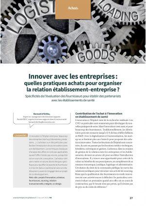 Innover avec les entreprises : quelles pratiques achats pour organiser la relation établissement–entreprise ?