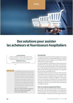 Des solutions pour assister les acheteurs et fournisseurs hospitaliers