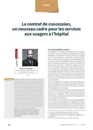 Le contrat de concession, un nouveau cadre pour les services aux usagers à l'hôpital
