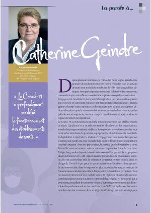La parole à Catherine Geindre, Présidente de la Conférence des Directeurs Généraux de CHU
