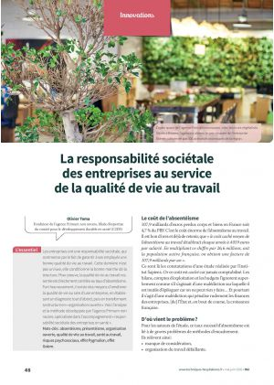 La responsabilité sociétale des entreprises au service de la qualité de vie au travail