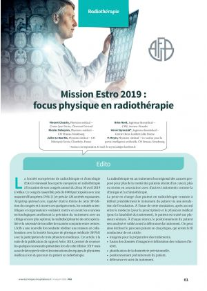 Mission Estro 2019 : focus physique en radiothérapie