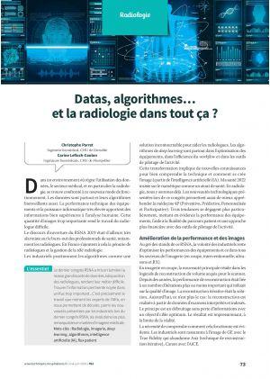 Datas, algorithmes… et la radiologie dans tout ça ?