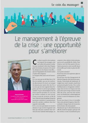Le management à l'épreuve de la crise : une opportunité pour s'améliorer. Pascal Christin. Consultant expert en management, coach et médiateur