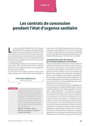 Les contrats de concession pendant l'état d'urgence sanitaire