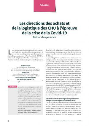 Les directions des achats et de la logistique des CHU à l'épreuve de la crise de la Covid-19