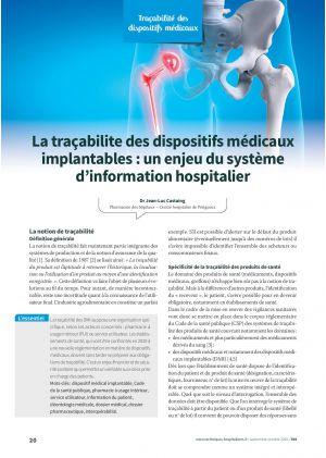La traçabilite des dispositifs médicaux implantables : un enjeu du système d'information hospitalier