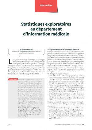 Statistiques exploratoires au département d'information médicale