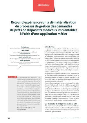 Retour d'expérience sur la dématérialisation du processus de gestion des demandes de prêts de dispositifs médicaux implantables à l'aide d'une application métier
