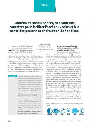 SantéBD et HandiConnect, des solutions concrètes pour faciliter l'accès aux soins et à la santé des personnes en situation de handicap